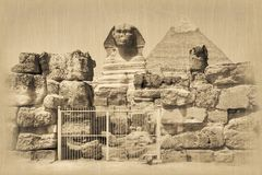 Great Sphinx and Khafre Pyramid Royalty Free Stock Photo