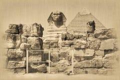 Great Sphinx and Khafre Pyramid royalty free stock photo