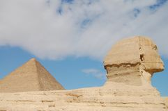 The Great Sphinx & Khufu Pyramid Stock Image