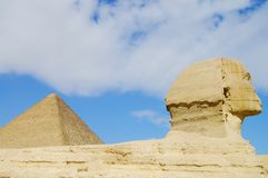 The Great Sphinx & Khufu Pyramid Stock Photos