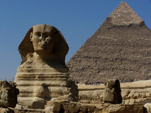 Great Sphinx Monument and Khafre Pyramid Giza Cairo Stock Images