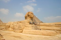 Great Sphinx and the Pyramid of Cheops Stock Photography