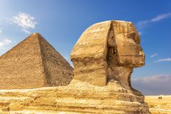 The Great Sphinx and the Pyramid of Cheops, Giza, Egypt royalty free stock photos