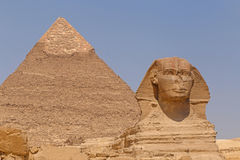 Great Sphinx and Pyramid of Khafre in Giza. Egypt Stock Photography