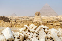 Great Sphinx and Pyramids of Giza Stock Photography