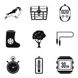 Great sport icons set, simple style. Great sport icons set. Simple set of 9 great sport vector icons for web isolated on white background Stock Photography