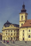 The Great Square and Roman-Catholic Church, Sibiu, Romania Royalty Free Stock Photography