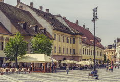 The Great Square, Sibiu, Romania Stock Images