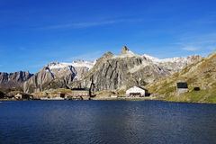 Great St. Bernard Pass Lake And Hotel Stock Photography