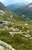 Great St. Bernard Pass (Switzerland) summer landscape. Royalty Free Stock Photo