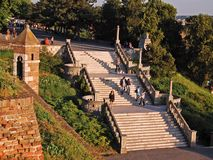 Belgrade Fortress. Sava Promedade and Great Stairs of Kalemegdan Park. royalty free stock photography