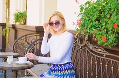 Great start of day. Mug of good coffee in morning gives me energy charge. Woman elegant happy face have coffee cafe stock images