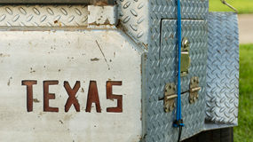 The Great State of Texas Cut into the Back of a Custom Bumper Stock Photos