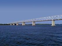 Great steel bridge across river. Great steel bridge from massive construction across Buzan river stock photography