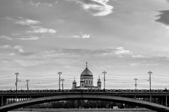Great Stone Bridge and the Cathedral of Christ the Savior in Moscow - black and white processing Stock Images