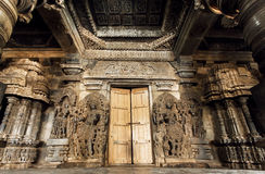 Great stone carvings of Indian 12th century temple Hoysaleswara, Karnataka of India. Hoysala Empire Stock Photos