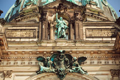 Great stone Jesus on the top of facade of the Berliner Dom Royalty Free Stock Photography