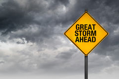 Great Storm Ahead Warning Sign Royalty Free Stock Photos