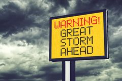 Great Storm Ahead Warning Sign Royalty Free Stock Images