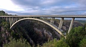 Great Storms River Bridge, Eastern Cape, South Africa. Bridge spans the Storms River gorge and forms a vital road link on the N2 National Highway between Port Stock Photography