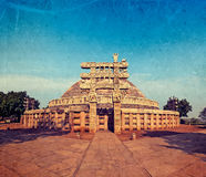 Great Stupa. Sanchi, Madhya Pradesh, India. Vintage retro hipster style travel image of Great Stupa - ancient Buddhist monument with overlaid grunge texture Stock Photo