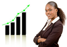 Great Success!. This is an image of a businesswoman smiling due to a rise in profits, symbolised by the graph behind her. This image communicates Great Success Royalty Free Stock Photography