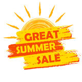 Great summer sale with sun sign, yellow and orange drawn label Stock Image