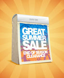 Great summer sale tear-off calendar. Royalty Free Stock Photo