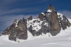 Great summit of Aiguille du Midi in June. Royalty Free Stock Image