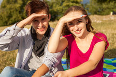 Great sunny day with best friends in park. Positive emotions. Royalty Free Stock Image