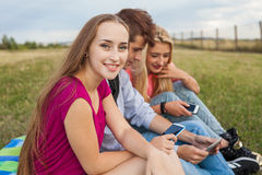 Great sunny day with best friends in park. Positive emotions. Stock Image