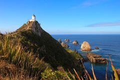 Nugget point lighthouse, New Zealand. Great sunny day at Nugget point lighthouse, New Zealand, South island royalty free stock photography