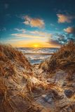 Great sunset at the danish dunes stock image