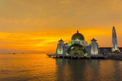 Great sunset and floating mosque Royalty Free Stock Image