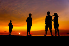 Great sunset with human silhouette Royalty Free Stock Photos