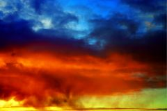 Great sunset sky with clouds stock image