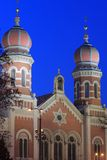 Great synagogue in Pilsen. The detail of Great synagogue in Pilsen at night, Czech Republic Stock Photo