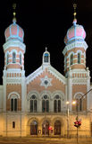 Great Synagogue in Plzen at night Royalty Free Stock Photo