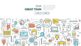 Great Team Horizontal Linear Concept vector illustration