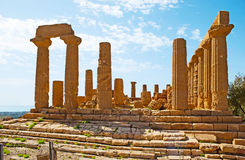 The great Temple of Juno. The facade of the great Temple of Juno Lacinia, located on the hilly area of Valley of the Temples, Agrigento, Sicily, Italy royalty free stock photos