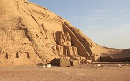 The Great Temple of Ramesses II. Abu Simbel, Egypt. The Abu Simbel temples are two massive rock temples in Abu Simbel in Nubia, southern Egypt. They are situated Stock Images