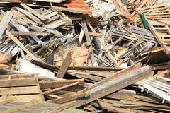 Wood Pallets in Landfill Dump royalty free stock images