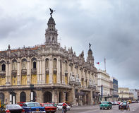 Great Theater of Havana and street January 27, 2013 in Old  Havana, Cuba Stock Images