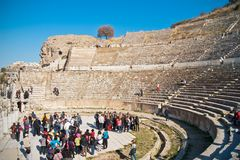 Great theatre in Ephesus. The Great Theatre in Ephesus, this is largest amphitheatre in Anatolia and it is a local landmark and famous travel destination for Royalty Free Stock Photo