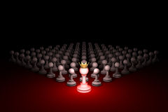 Great threat. Strong army (chess metaphor). 3D rendering illustr. Chess composition. Standing Out from the Crowd. Available in high-resolution and several sizes Stock Photo