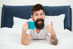 Great time at home. mature male with beard in pajama on bed. asleep and awake. energy and tiredness. happy bearded man. Hipster drink morning coffee. brutal stock photography