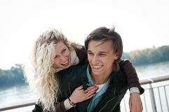 Great time - young couple together Stock Images