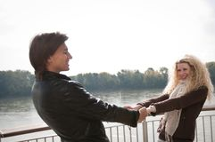 Great time - young couple together Stock Photos