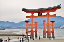 Great Torii gate at Miyajima island in Hiroshima, Japan. Stock Images