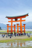 The Great Torii of Miyajima at low tide Royalty Free Stock Images